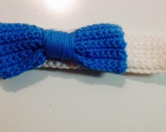 Blue bow Headband or Tie