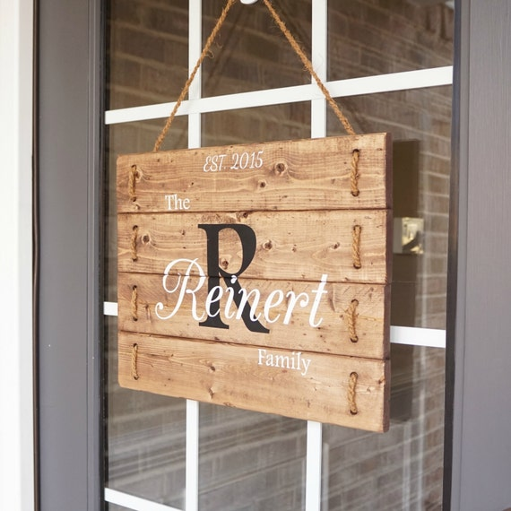 Family name established sign front door decor family name for Door name signs