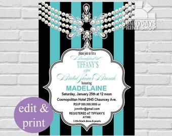 Breakfast at Tiffanys Bridal Shower Brunch INSTANT DOWNLOAD Edit with Adobe Reader