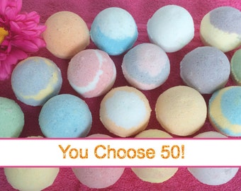 FREE SHIPPING 50 Bath Bombs! Wholesale! Bulk! Handmade Bath Fizzies for Dry Skin, Coconut Oil, Bath Salts, Ultra Lush, High Quality Discount