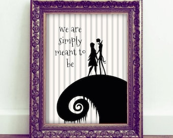 The Nightmare Before Christmas wall art, Jack and Sally quote, printable quotes