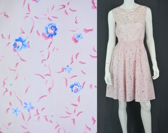 1960's Vintage Women's XS Handmade Pink Floral Day Dress Sleeveless Casual
