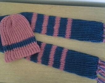Aqua & pink, beenie,scarf