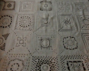 Granny Square Afghan in White