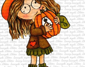 Fall Peggy Digital Stamp by Sasayaki Glitter - Naz - Line art only
