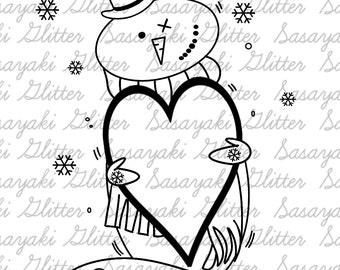 Valentine Snowman by Sasayaki Glitter line art only