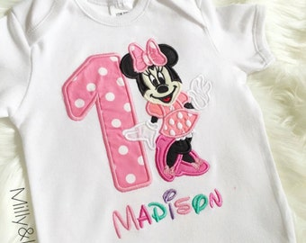 Minnie Mouse Birthday Top , Minnie Top, Minnie Mouse