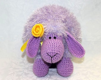 Knitted toy / Knitted pillow / Knitting sheep / Lamb Knitted toy / Lilac knitted lamb