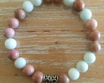Amazonite & Rhodonite gemstone bracelet, 8mm beads, made to order, reiki infused, chakra healing, yoga