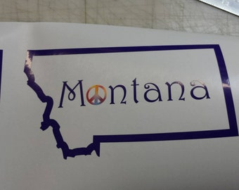 Montana Sticker with a peace sign