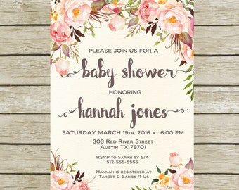 Baby Shower Invitation Printable, Baby Shower Invitation Shabby Chic, Baby shower Invitation Girl