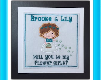 Will you be my Bridesmaid? Personalised custom card, Flower girl, Ring bearer, Page boy, Thank you for being my Bridesmaid - any wording