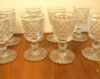 antique glasses 19thc drinking glasses strawberry cut 8 glasses 19th century wine