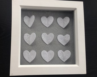 Framed hearts picture