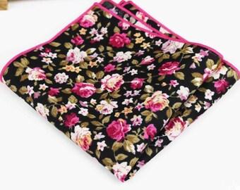 Cotton pocket square | Flower | Groom | Men | Wedding | Handkerchief | Fall | Ideas | gifts |  for him