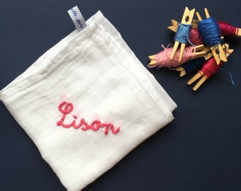 Lange baby / / birth gift / / hand embroidery / / personalized gift / / child doudou / / child lange / / birth keychain