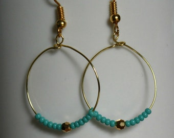 gold hoop earrings, gold and turquoise beaded earrings