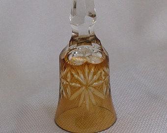 Amber Bell, Cut Glass Bell,  Collectible Bell,  Tea Bell,  Dinner Bell, Amber Deco
