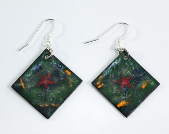 Sterling Silver Earrings Metal Enamel Copper Penny Earrings Green Red Star Orange Blue Metal Earrings