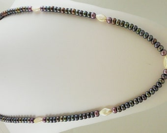 Freshwater Black, Purple and Pink Pearl 7 - 9mm Necklace 46 Inches Long