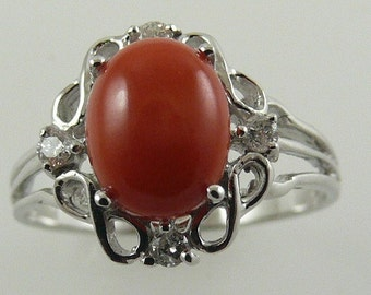 Italian Coral 9mm x 7mm Ring with Diamonds 0.12ct 14k White Gold