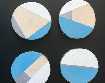 Hand-painted wooden coasters (Set of 4)