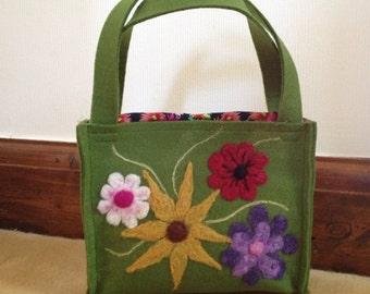 Small Green Felt Bag With Flower Embellishment