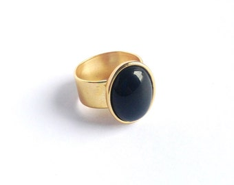 Black Onyx 24k Gold Plated Adjustable Ring