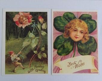 Two Unused Postcards with Vintage Illustrations