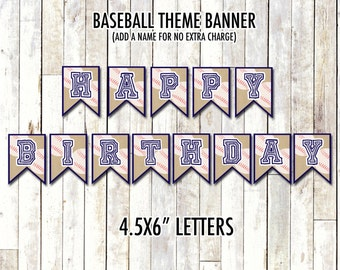 BASEBALL BIRTHDAY BANNER | Baseball Theme Banner | Digital/Printable