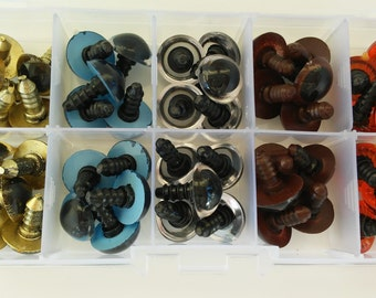 25 pairs of safety eyes, 5 different colors, 14 mm-25 pairs of 14 mm safety eyes Box, 5 different colours. Eyes for dolls-