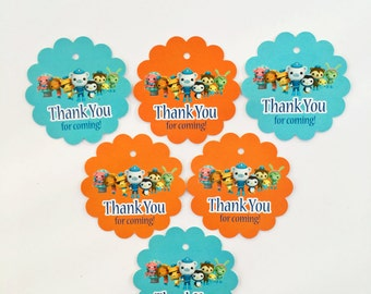 12 Octonauts Thank you Birthday party favor tags