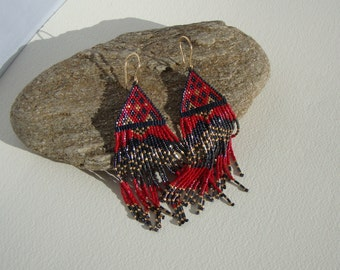 Earrings boho chic, gypsy, Bohemian, black, Red
