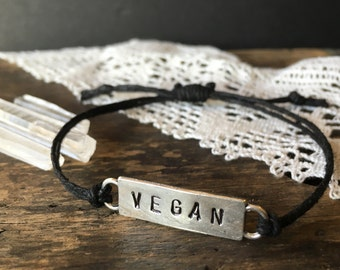 Handmade Vegan Bracelet - Hemp Bracelet - Vegan Jewelry - Animal Rights - Awareness - Love - Organic - Veganism - Organic Hemp -