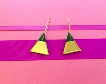 Geometric Glass Triangle | Hoop Earrings | Forest Green • Gold