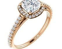 Rose Gold Halo Engagement Ring, Halo Diamond Ring, Cushion Cut Diamond Engagement Ring, Diamond Ring, Rose Gold Diamond Ring