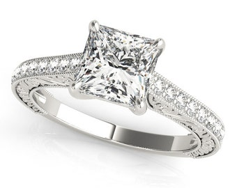 Princess Cut Diamond Ring, Princess Cut Engagement Ring, Diamond Engagement Ring, Princess Cut Diamond Ring in 14k Gold.