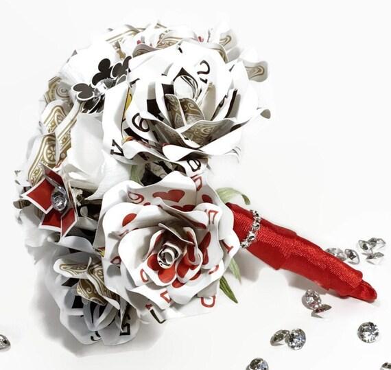 Poker Card Wedding Bouquet, Ultimate Vegas Wedding Decor, Playing Card Flowers, Rhinestone Crystal, Unique Bridal Bouquet, Bridesmaid Flower
