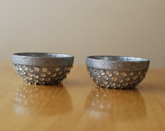 Silver Glittered Tealight Candle Holders Embellished with Rhinestones (Set of 2) with 4 Tealights Included