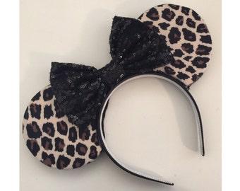 Mickey Mouse Leopard Ears, Mickey Mouse Cheetah Ears, Cheetah Mickey Ears, Cheetah Minnie Mouse Ears, Cheetah print, Animal Print