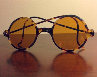 Antique 1920's Willson Steampunk Tortoise Shell Round Sunglasses Style K7