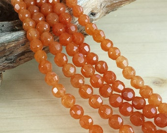 """Faceted Red Aventurine >> 4mm Faceted Round Beads >> 15.5"""" Strand - Small, Sphere, Gemstones, Medium Reddish Peachy Orange"""