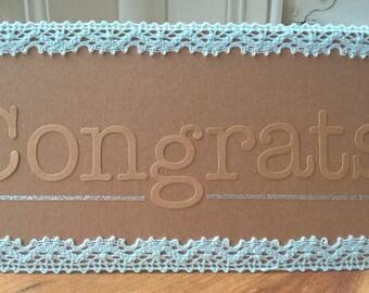 Lace detail Congrats card