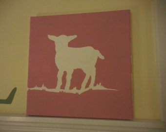 Pink Lamb Silhouette for Nursery