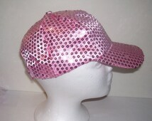 Flamingo Pink Sequined Rave Disco Baseball Style Hat Cap Adj Sz  S - XXL for Cosplays, Clubs, Raves, Theater, Parties, PokemonGo Teams, Etc.