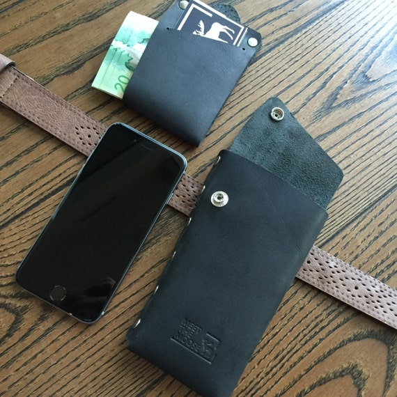 Black Leather Holster Wallet, leather iphone 6 wallet, belt holster, belt wallet, leather phone holster, leather mens wallet