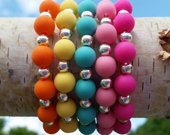 Brightly colored Silicone beaded bracelets-perfect for summer!