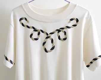 Vintage cream golden navy anchor embroidered jumper