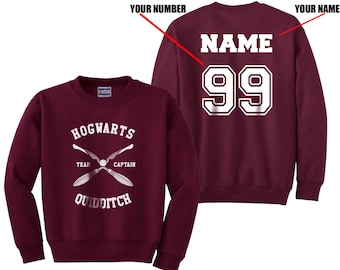 Custom name and number on back Hogwarts Quidditch team Captain WHITE print on Maroon Crew neck Sweatshirt