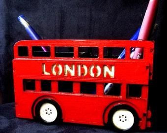 Pen organizer London bus, table organizer, Office desk organizer London bus, double-decker.